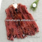 Free Shipping Raccoon Fur Collar Knitted Real Rabbit Fur Vest