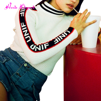 China manufacturer white tight letters printed cashmere knitted sweater for women