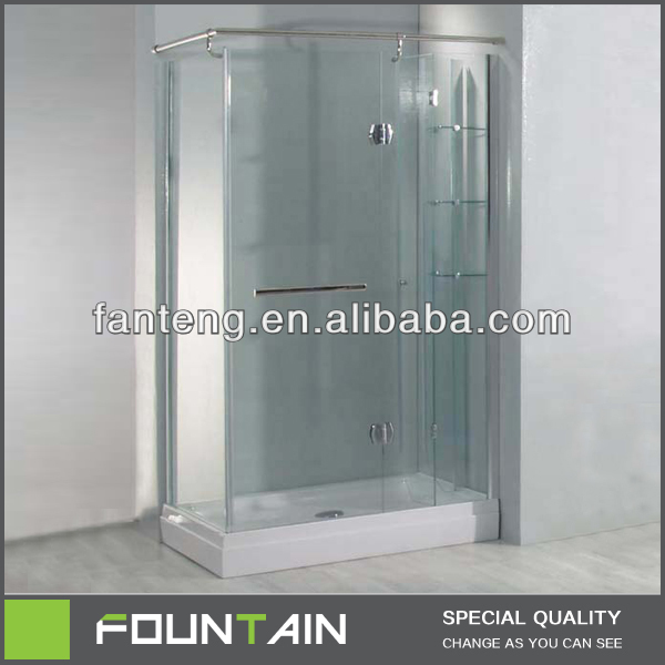 Free Standing Rectangular Shower Enclosure With Bath Curtain Rod And Shelf
