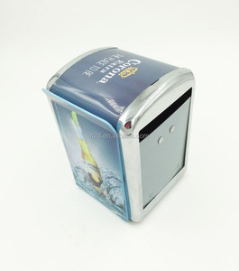 Napkins dispenser tin box with acrylic menu holder