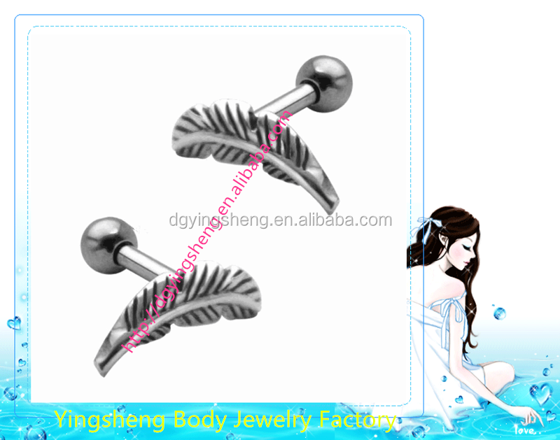 stainless steel Mini micro feather upper ear cartilage ear piercing jewelry