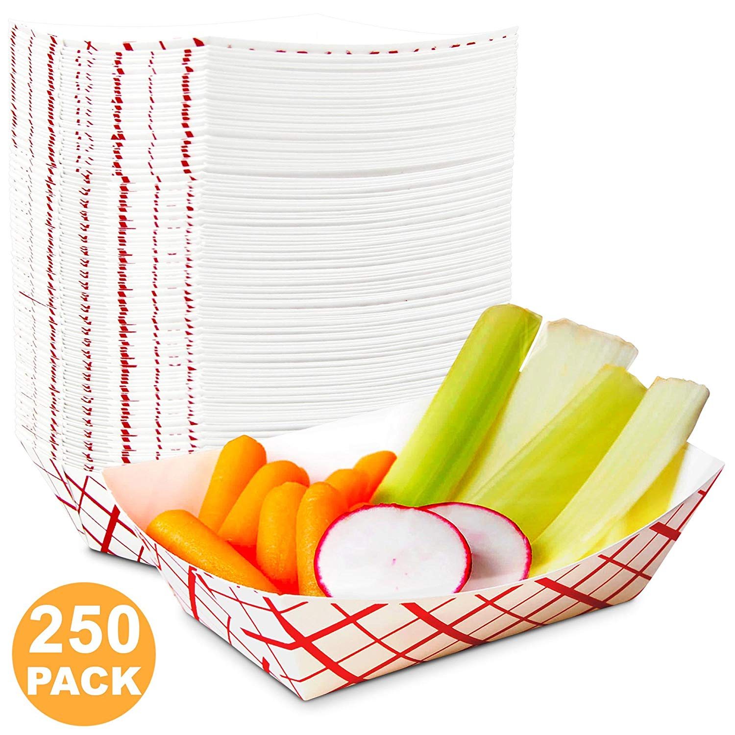 1 lb Heavy Duty Disposable Red Check Paper Food Trays Grease Resistant Fast Food Paperboard Boat Basket for Parties Fairs Picnics Carnivals, Holds Tacos Nachos Fries Hot Corn Dogs [250 Pack]