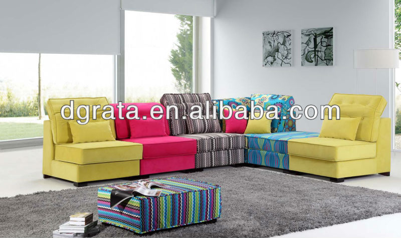 2012 hot sale colourful fabric sofa sets is uesd the high quality fabric to finish for the house furniture
