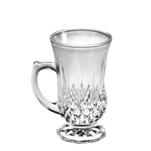 wedding use luxurious simple premium durable clear 145ml diamond band handle wine tea glass cup