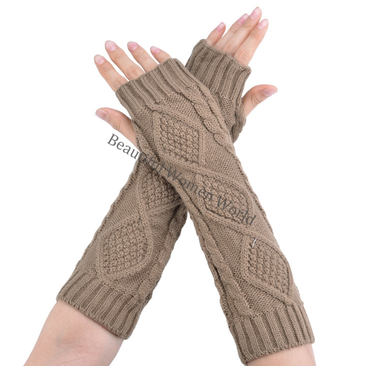 Winter Gloves Women Fashion Arm Warmer Fingerless Long