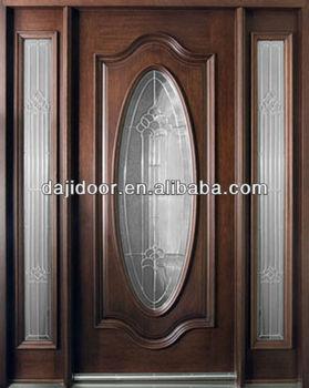 Luxury oval glass wooden main doors design with side lite for Main door side glass designs