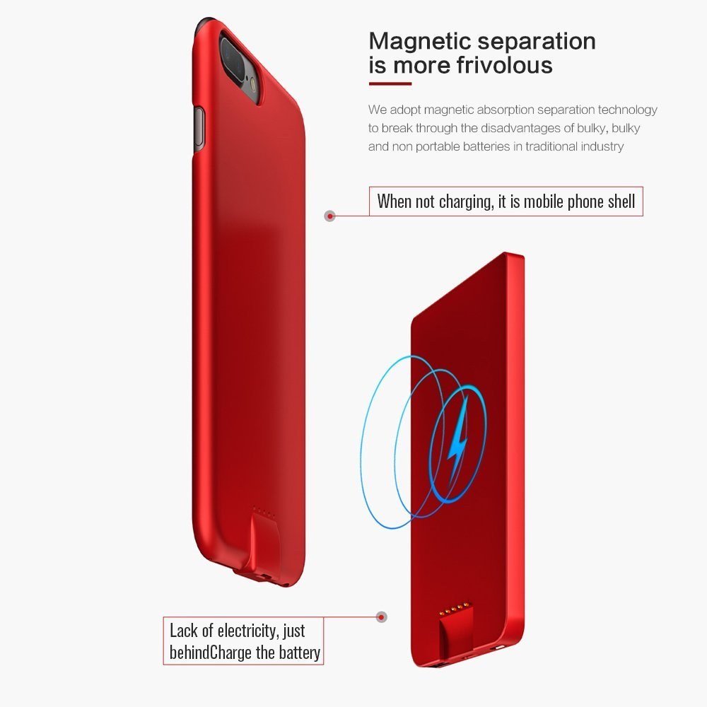 2017 Best Quality 6000mAh 2 in 1 Removable Protable Slim Magnetic Wireless Charging Backup Power Case cover for iPhone