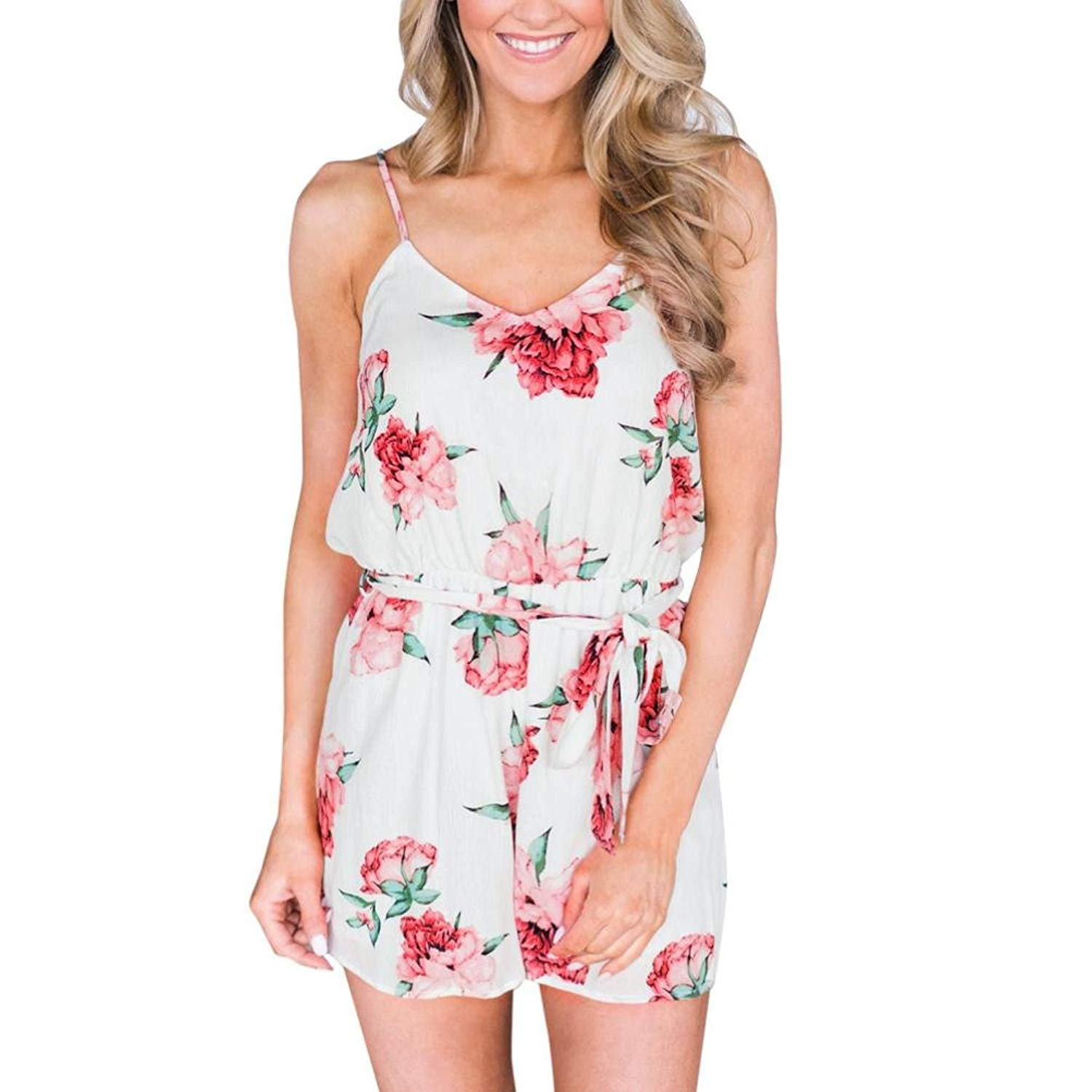41bebca5c15 Get Quotations · TOTOD Women Summer Fashion Floral Sleeveless Fashion  Jumpsuits Playsuits Playsuits Rompers Wide Leg Pants