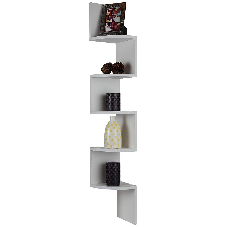 Get quotations · arad 5 tiers white corner floating wooden shelf floating shelf living room shelf