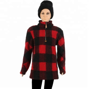 FACTORY Buffalo Plaid Winter Adult and Kids Fleece Pullover