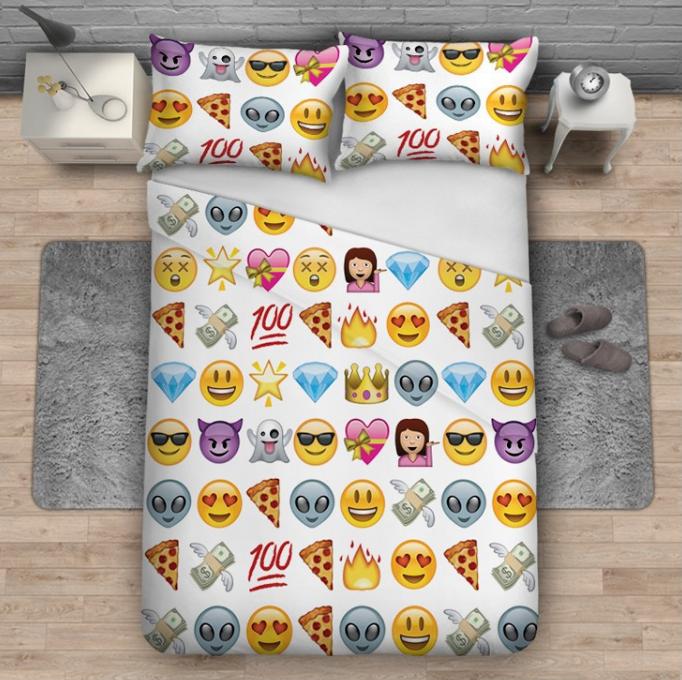 Whole Price Fashion Printed 100 Cotton Cute Emoji Bedding Sets