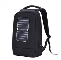 Multi-pocket high quality school laptop backpack usb bag with solar power panel