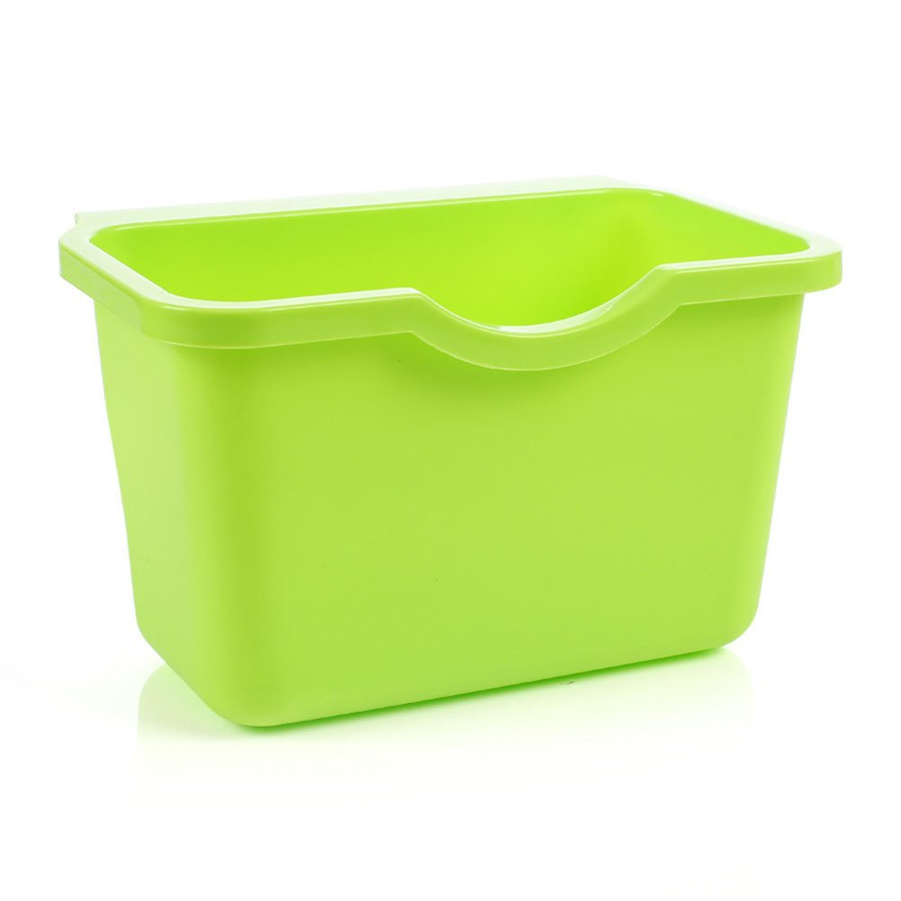 Kitchen Cabinet Door Plastic Basket Reusable Trash Barrel Container Bowls Hanging Trash Can Waste Bins Garbage Box (Green)