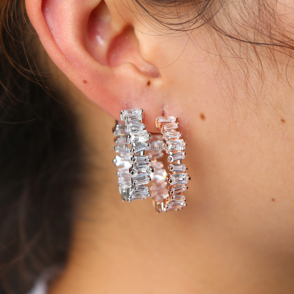 Wholesale factory cheap price gold rose gold silver plated white black cz paved women hoop tiny earring for wedding фото