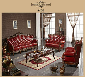 Top End Turkish King Royal Palace Carving Pure Leather Sofa Set