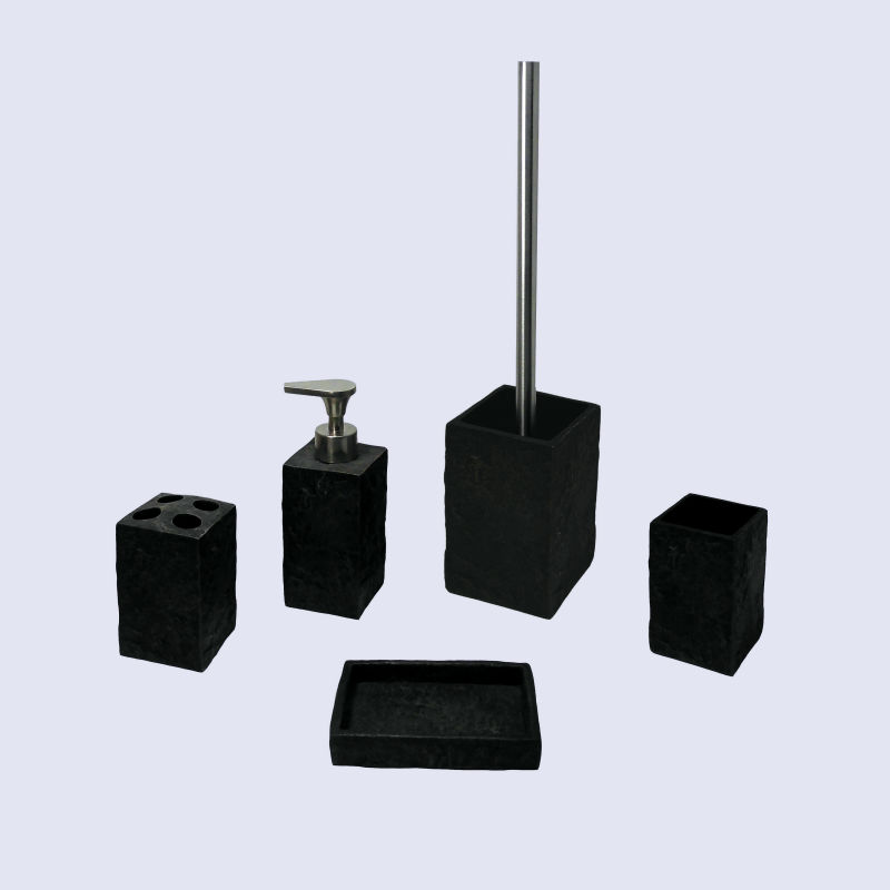 Ea0024 Natural Stone Bathroom Accessories Black Square Shape Lotion Dispenser Toothbrush Tumbler Soap Holder Toilet