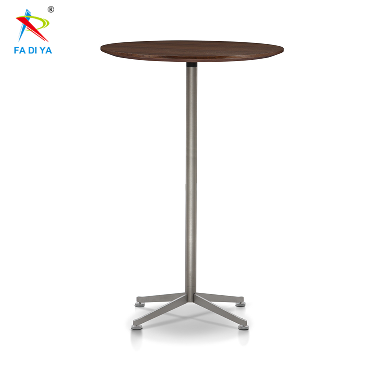 Round Stainless Steel base Wood high <strong>bar</strong> table