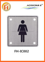Customized stainless steel bathroom sign toilet guide sign