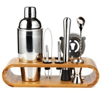 10-Piece Cocktail Shaker Set with Stylish Bamboo Stand - Perfect Home Bartender Kit and Bar Tool Set