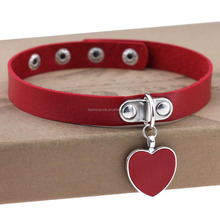 Women Favorite Leather Punk Heart Ring Collar Choker Funky Necklace Ladies Gift