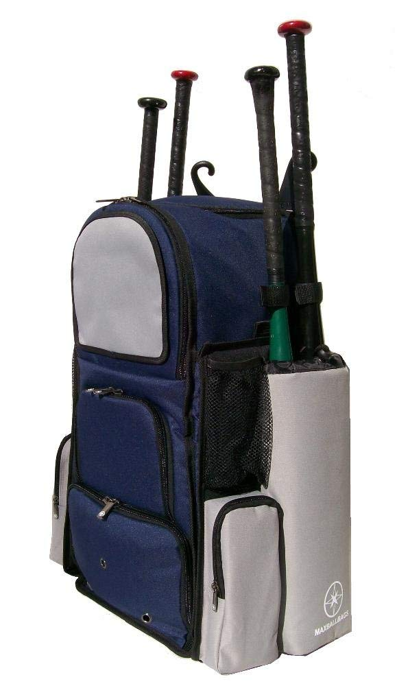 Get Quotations · New Design Large Vista L in Navy Blue and Silver Adult  Softball Baseball Bat Equipment Backpack 461e99b77831d