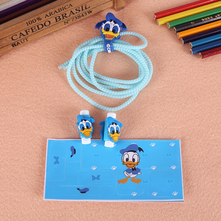 Four-piece set cartoon triple mobile phone earphone charger usb Data line retaining rope protection phone cable protect lines