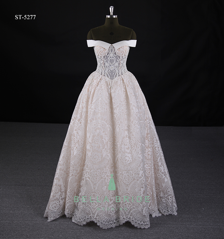 Floor Touching Off Shoulder Elegant Cinderella Bridal Ball Gown ...