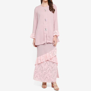 Long Shirts Muslim Women Pink Lace Puffy Sleeve Baju Kurung With Beads