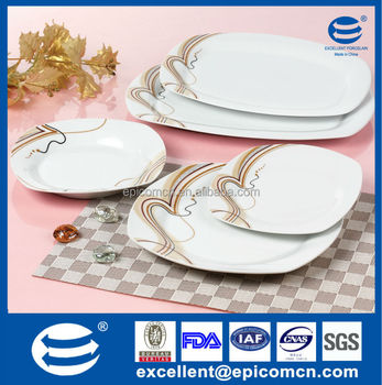 Delicieux Square Shape White Porcelain Kitchen And Dining Serving Set Ceramic 20pcs  Of Dinner Ware