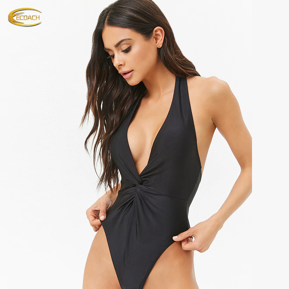 OEM factory fashion design removable cups halter neck wrap front one pieces swimsuit for women 2019 <strong>sexy</strong>