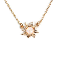 Fashion Necklace 2019 Zinc Alloy Silver/ Gold Sunflower Moonstone Necklace Jewelry For Women