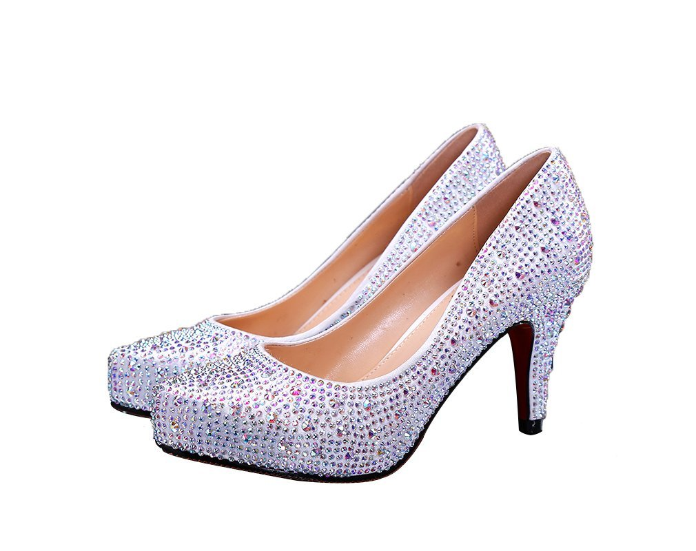Veribuy Wedding Shoes Bling Sparkle Princess Crystal Shoes White