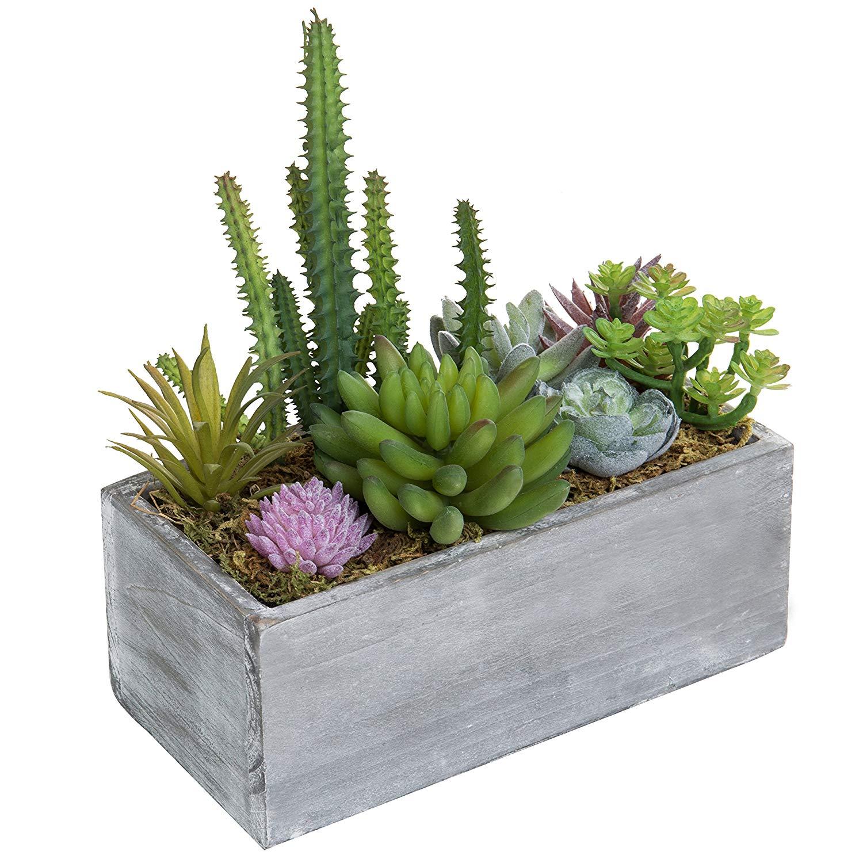 MyGift Assorted Faux Succulent Plant Arrangement in Wooden Planter Box
