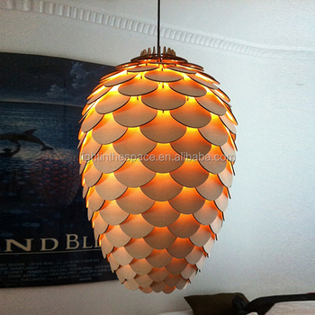 2018 New Creative Wooden Wood Pine Cone Le Loft Nordic Led Pendant Pending Lighting