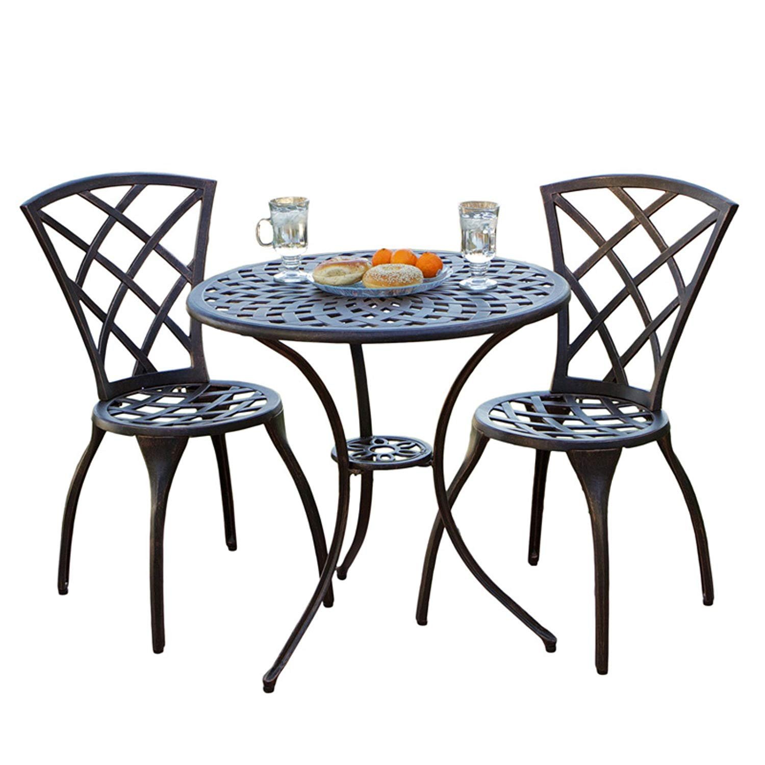 Elegant Outdoor 3 Piece Patio Bistro Set With 2 Chairs And Table With 2 Inch Hole For Umbrella, Durable Aluminum Construction, Hidden Rubber Feet To Protect The Flooring, Bronze Finish