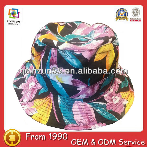 sun promotion polyester new large brim fitted washed bucket hats for babies fashion floral cotton bucket cap