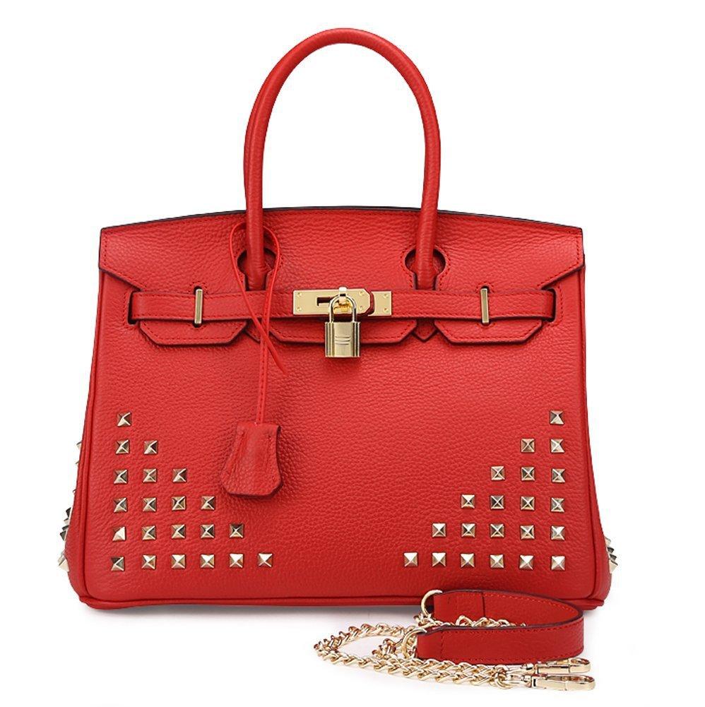 48d68cf50b22 Ainifeel Women's Studded Padlock Genuine Leather Handbags Shoulder Bag Hobo  Bag Satchel Purse