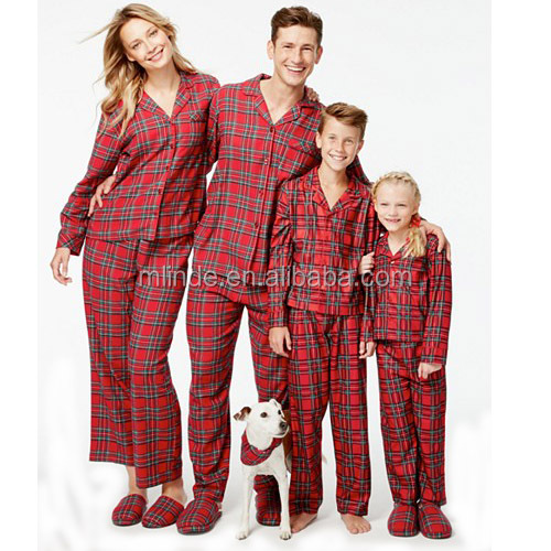 Wholesale Christmas Clothing All Match Family Pajamas Classic Style Cotton Flannel Full Length Perfect Holiday Plaid Pajama Sets