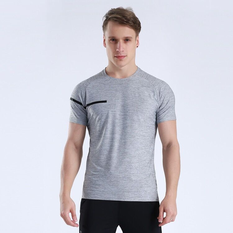 High Quality Active Workout Training Sports Wear Polyester Spandex Anti-Bacterial Dry Fit  Men T Shirt