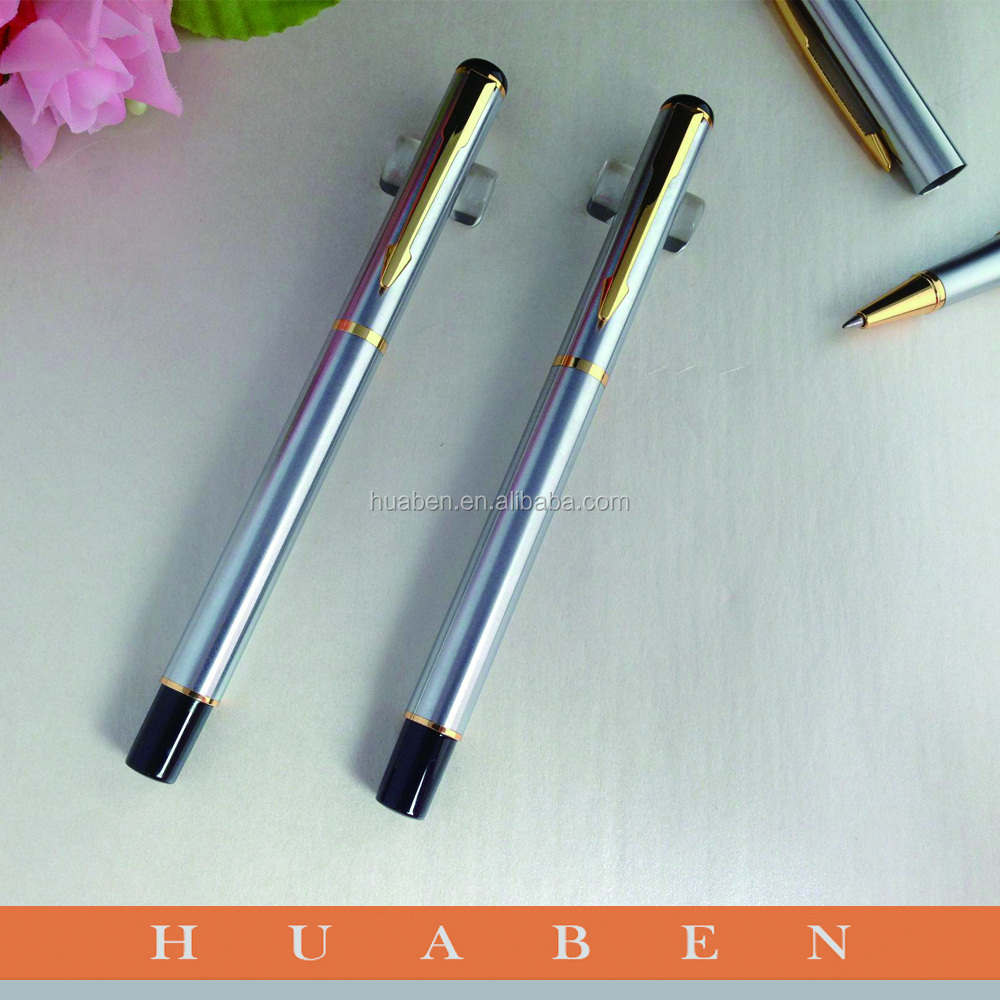 Huaben custom silver metal gift pen,high quality luxury gold fountain pen