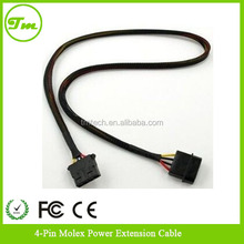 "24"" black 4 Pin Molex Black Sleeved Power Extension Cable For PC Computer PSU"