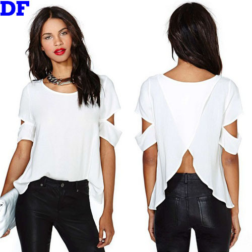 2015 Summer White Chiffon Blusas Blouse Back Cross Fashion Women Tops Shirts Sleeve Hollow Sexy Women Blouses Camisa Feminina XL