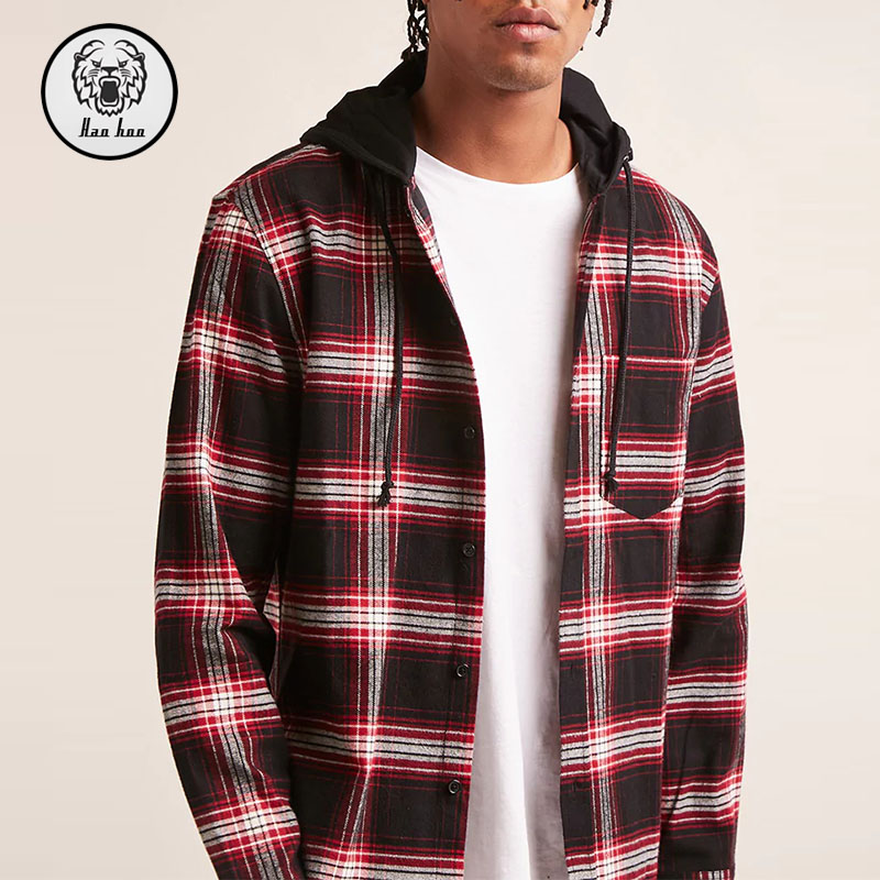 2018 Mens Wear Wholesale Plaid Shirt Hooded Shirt Buy Hooded