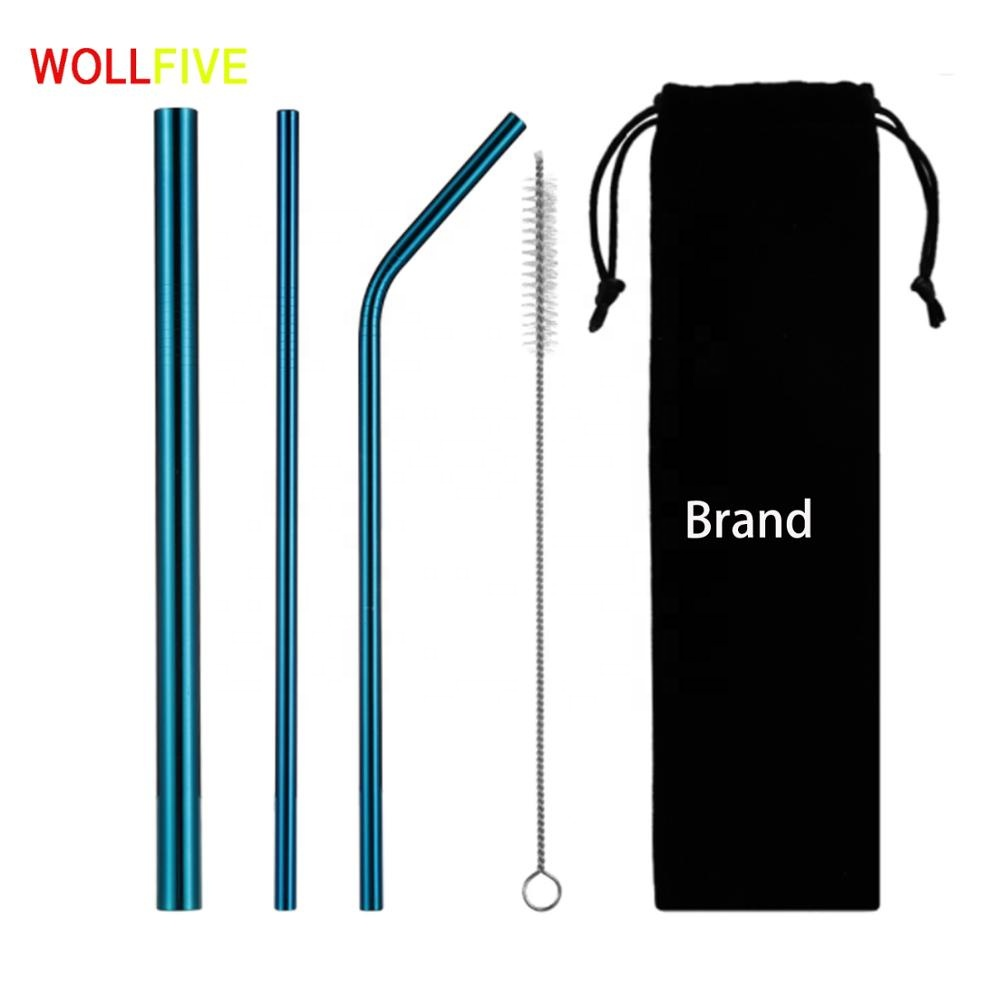 Купить со скидкой Reusable Drinking Straw Stainless Steel Eco-Friendly Straight Bend Metal Straw Set with Cleaner Brus