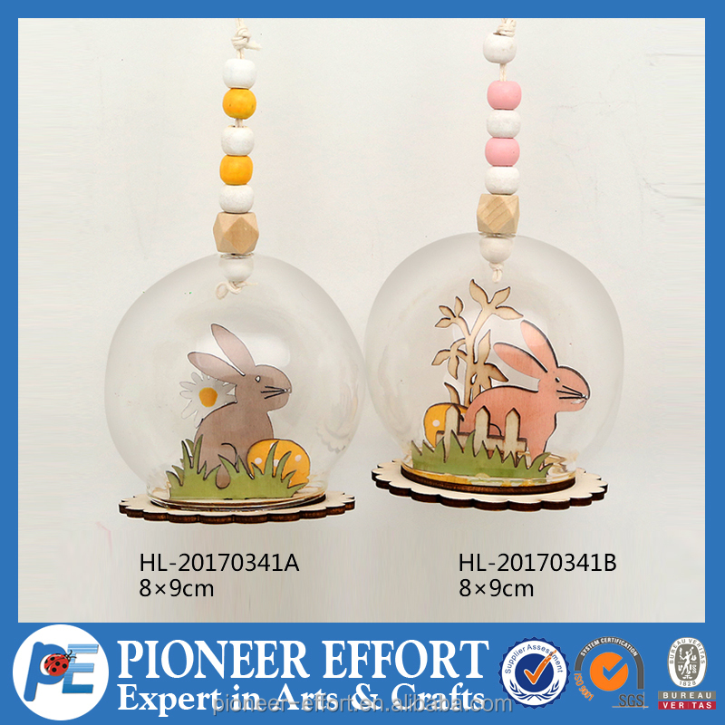 Wooden and glass Easter bunny hanging decorations