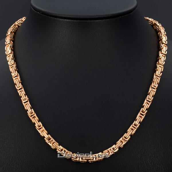 Mens Gold Byzantine Necklace: Personalized 4mm Mens Rose Gold Tone BYZANTINE BOX Link