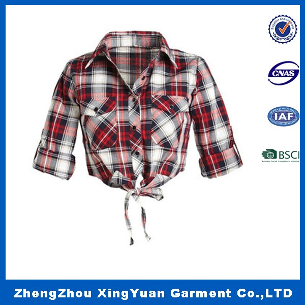 China Supplier Apparel Plaid Color Cotton Ladies Apparel Crop Top / New Fashion Women Apparel