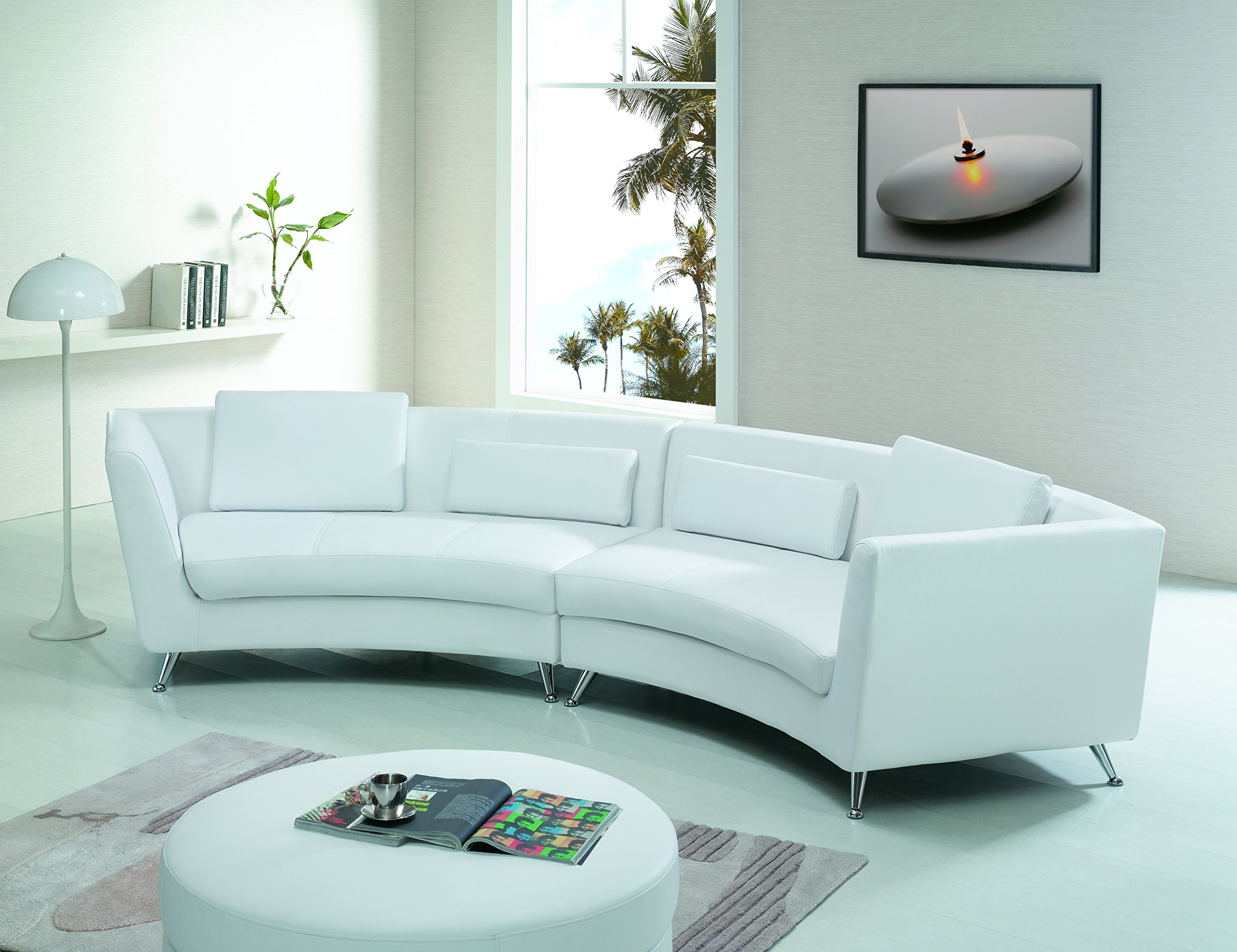 Buy Modern Line Furniture 8004b G9 Contemporary Leather Long Curved