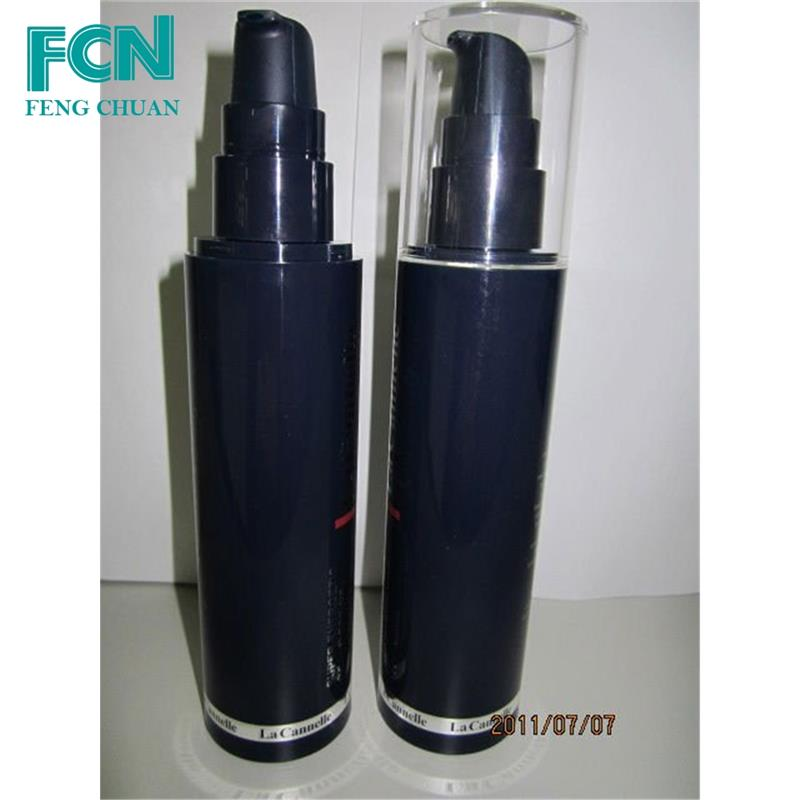 Certified small plastic pump spray black airless plastic cosmetic bottle