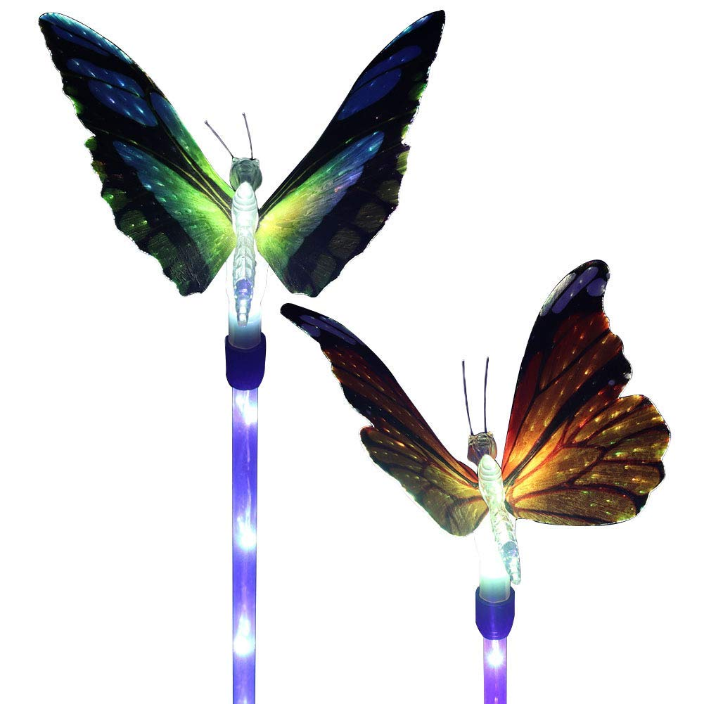 Outdoor Solar Garden Stake Lights, SOUBUN 2 Pack Waterproof Multi-Color Changing LED Solar Powered Fiber Optic Butterfly Decorative Lights for Garden, Patio, Backyard (Butterfly Solar Light)